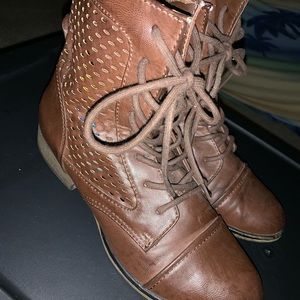 Shoes - Woman's Brown Combat Boots